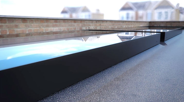 close up of EOS Rooflight on flat roof