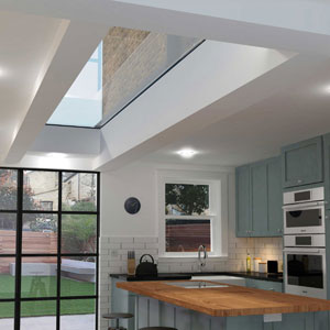 Large Fixed skylight in Kitchen
