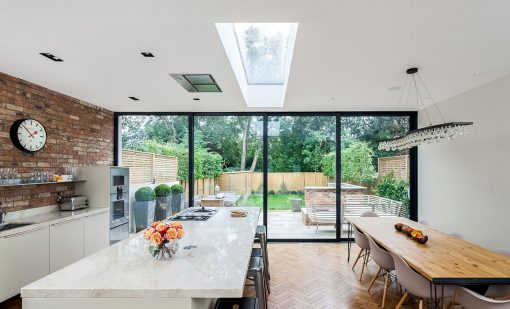 open plan kitchen with openign rooflight