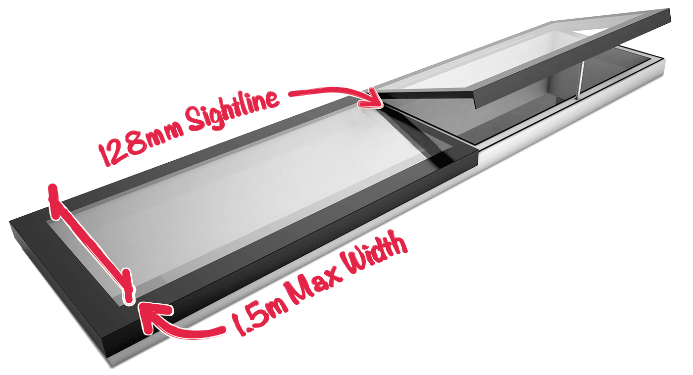 Modular Skylight showing the sightlines between each panel