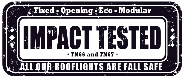 Impact test badge. All EOS skylights are impact tested for extra safety