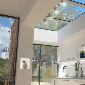 600mm x 2400mm rooflight on zinc roof