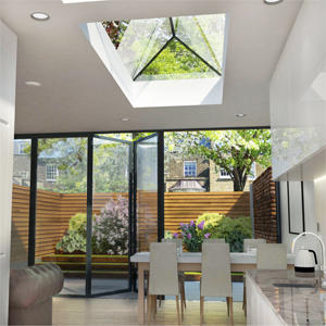 Flat Rooflights in White Kitchen