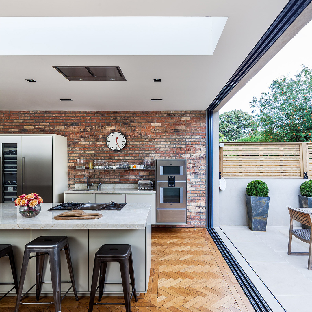 Opening Rooflight - A large opening skylight was added to this contemporary extension in Wandsworth, London.