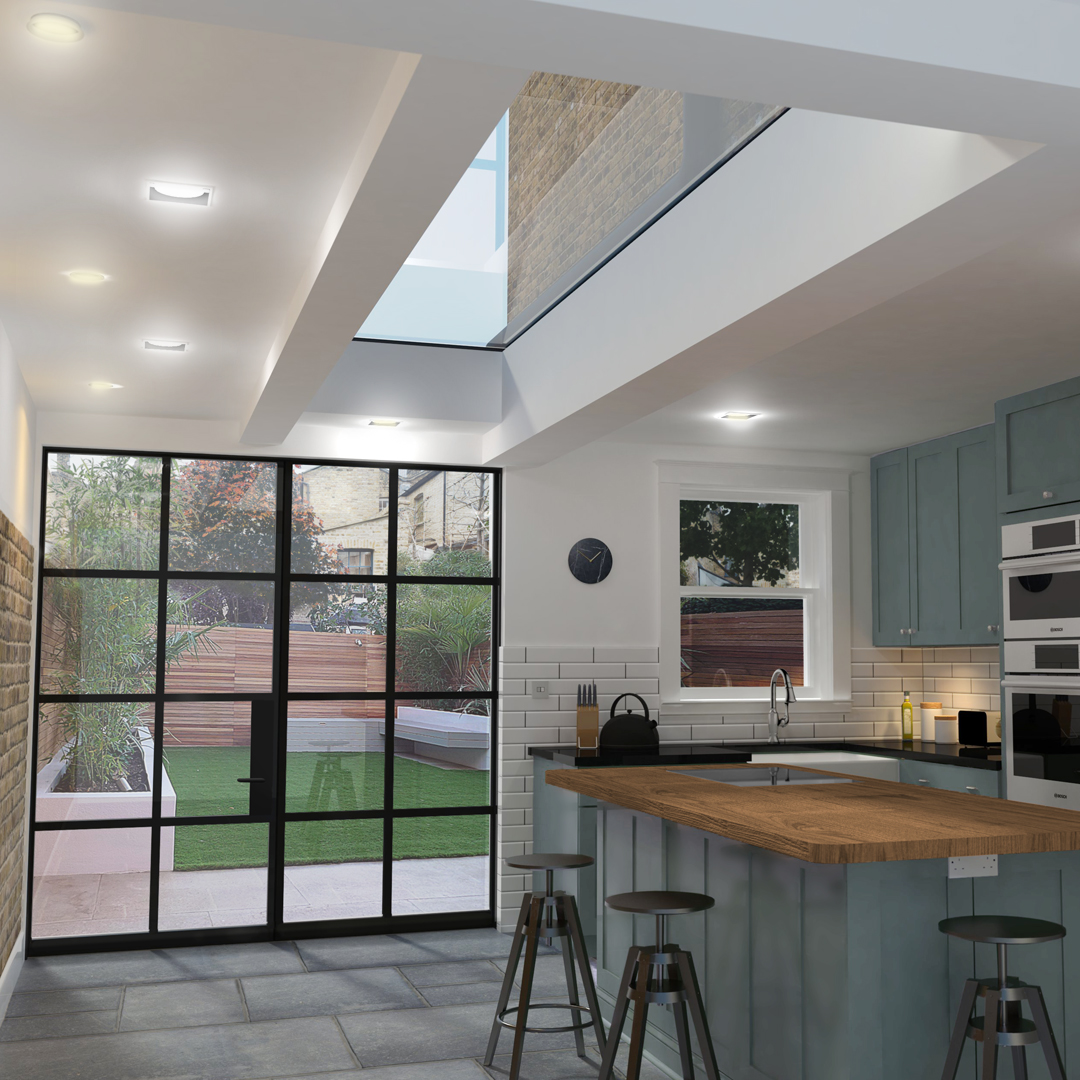 Large Kitchen Extension - We used a large rooflight that abuted the existing house wall to help bring light to this side return in Hackeny, East London.