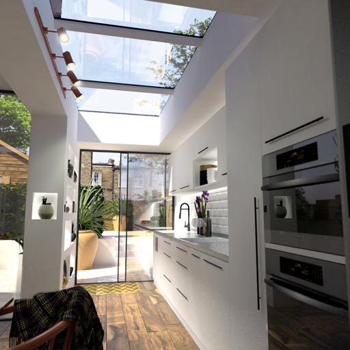 Modular rooflight in side extension
