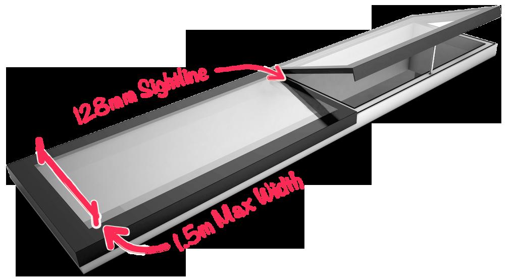 Modular rooflight 1.5m max width