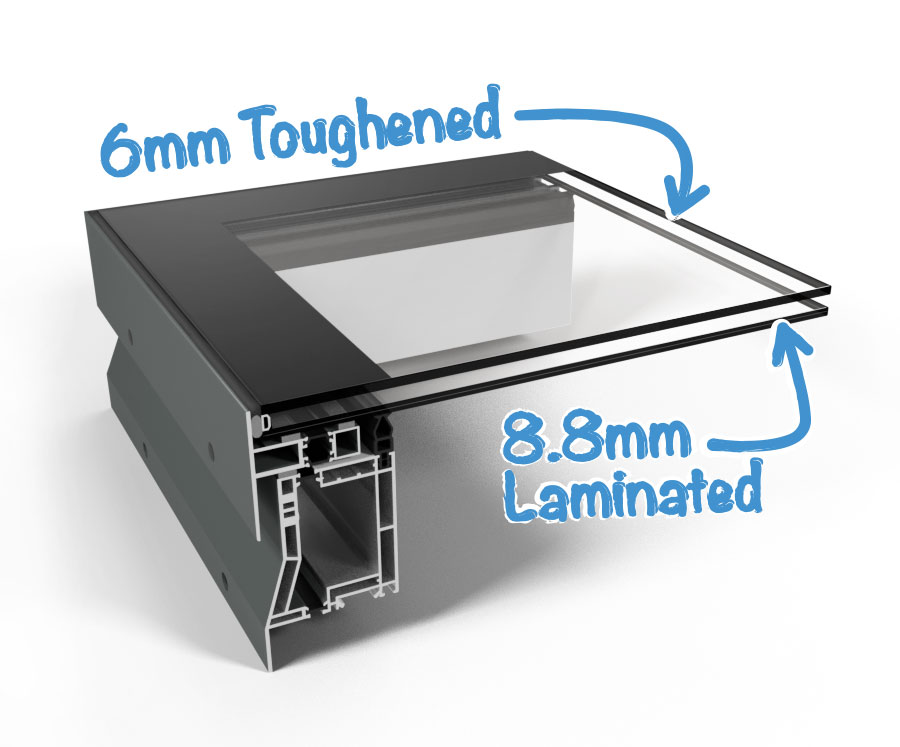 Cross section of our hinged rooflight showing glass specification
